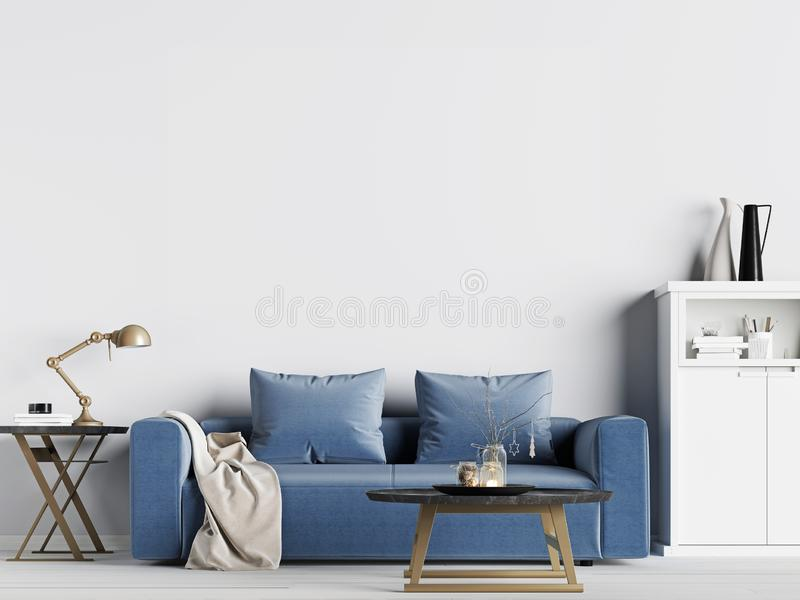 Mock up empty wall in interior background with blue sofa, Scandinavian style royalty free illustration