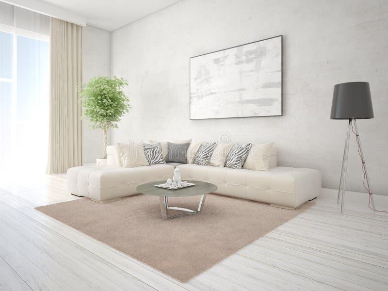 Mock Up A Fashionable Living Room With A Stylish Corner Sofa. Stock ...