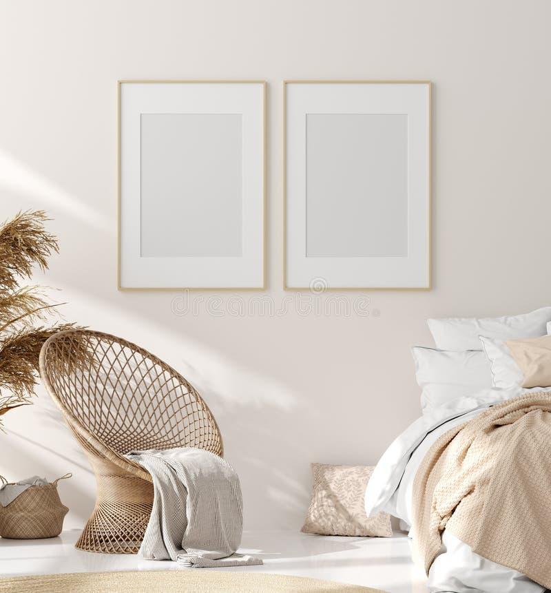 Mock up frame in bedroom interior, beige room with natural wooden furniture, Scandinavian style. 3d render stock illustration