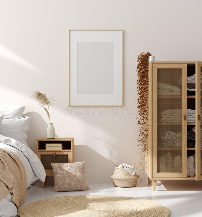 Mock up frame in bedroom interior, beige room with natural wooden furniture, Scandinavian style. 3d render royalty free illustration