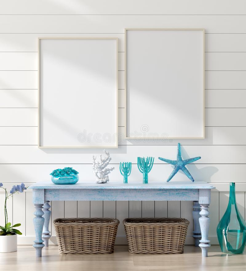 Mock up frame in bedroom interior, marine room with sea decor and furniture, Coastal style. 3d render stock images