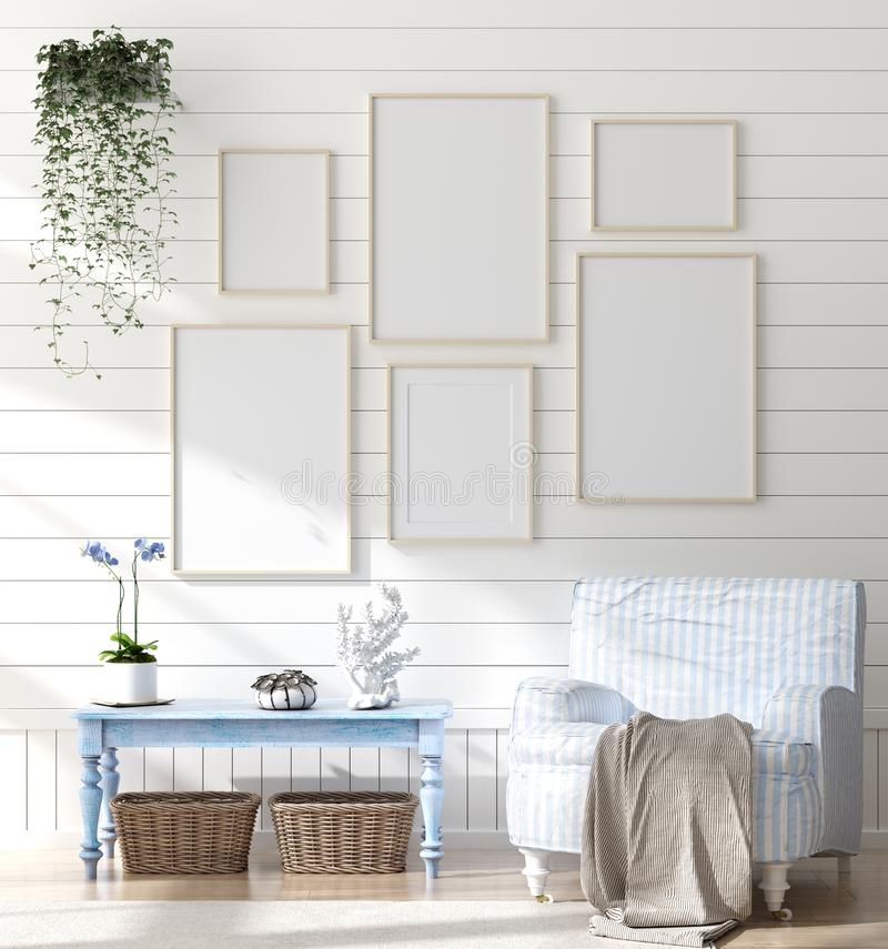 Mock up frame in bedroom interior, marine room with sea decor and furniture, Coastal style. 3d render royalty free stock photography