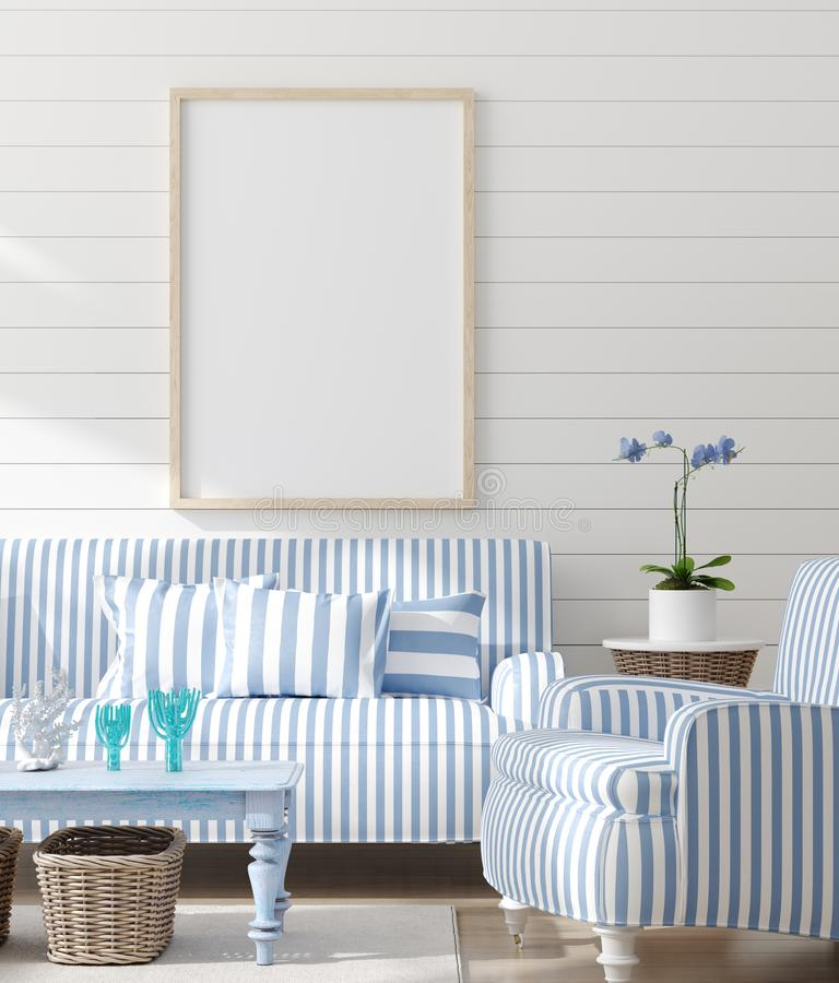 Mock up frame in bedroom interior, marine room with sea decor and furniture, Coastal style. 3d render royalty free stock photos
