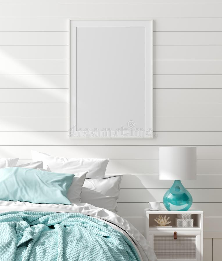 Mock up frame in bedroom interior, marine room with sea decor and furniture, Coastal style. 3d render stock photos