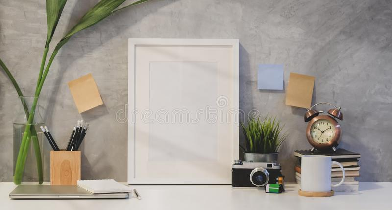 Mock up frame and copy space with office supplies royalty free stock photo