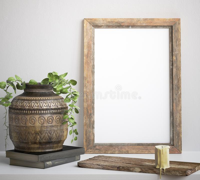 Mock up frame, decorated rustic background. 3d render stock illustration