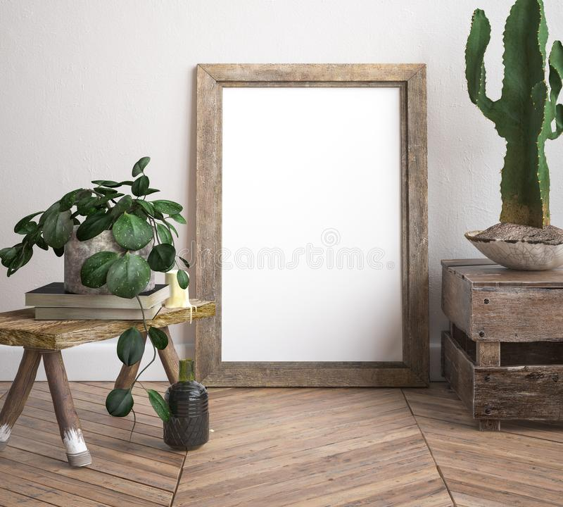 Mock up frame, decorated rustic background. 3d render vector illustration