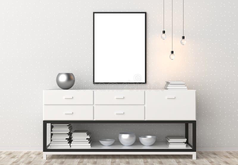 Mock up frame in hipster interior background. 3D illustrating. stock images