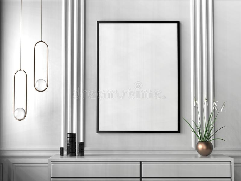 Mock up frame in hipster interior background. 3D illustrating. royalty free stock photography
