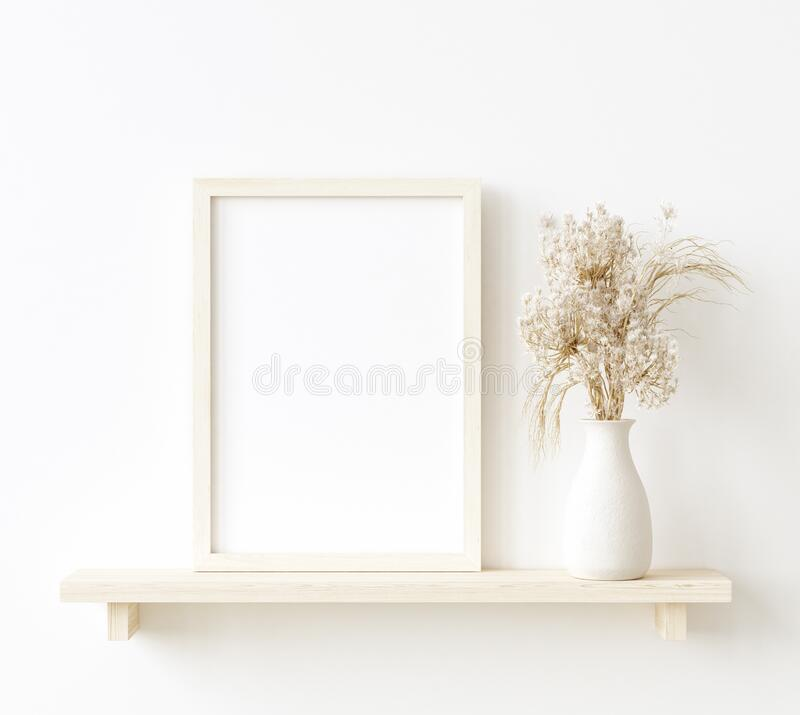 Mock Up Frame In Home Interior Background, White Room With