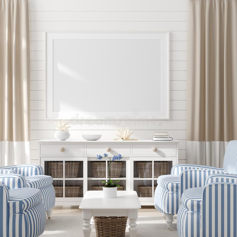 Free Mock Up Frame In Bedroom Interior, Marine Room With Sea Decor And Furniture, Coastal Style Royalty Free Stock Images - 148743369