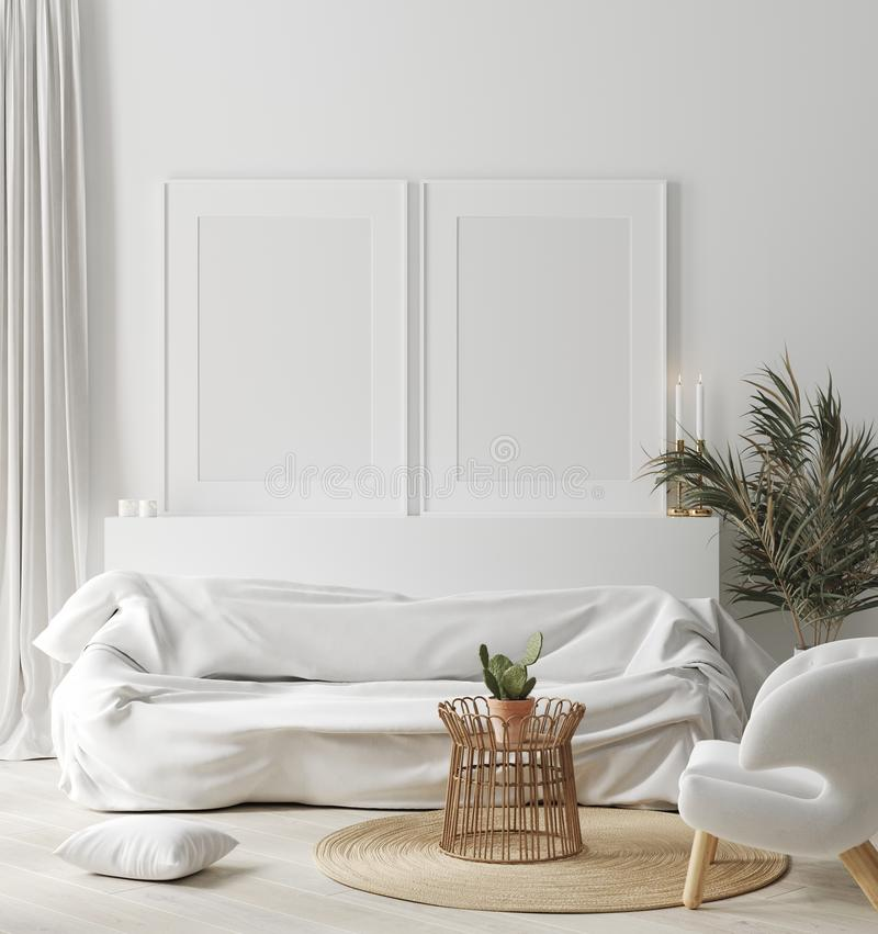 Free Mock Up Frame In Cozy White Home Interior, Scandinavian Style Stock Images - 161059284