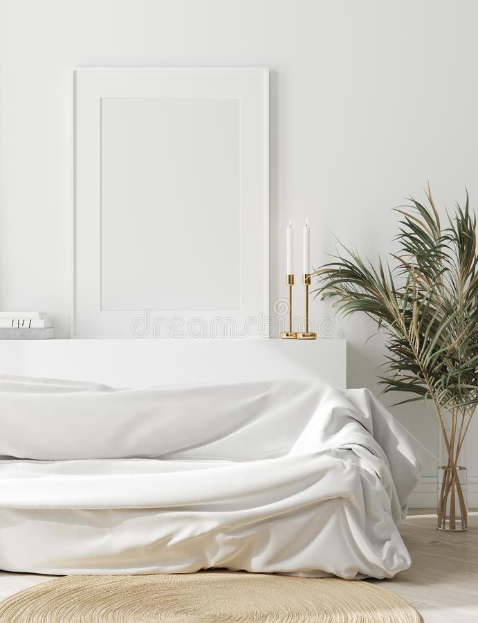 Free Mock Up Frame In Cozy White Home Interior, Scandinavian Style Stock Image - 161059381
