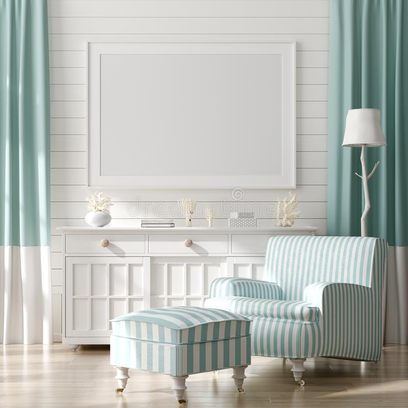 Free Mock Up Frame In Home Interior Background, Coastal Style Living Room With Marine Decor. Stock Photography - 148742782