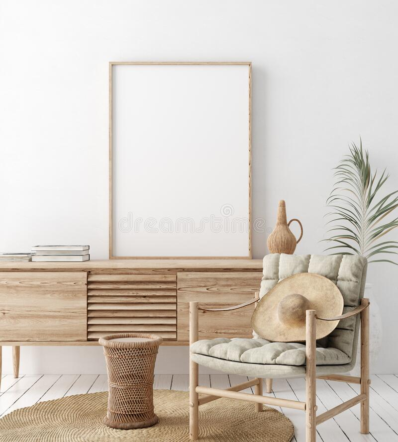 Free Mock Up Frame In Home Interior Background, White Room With Natural Wooden Furniture, Scandi-Boho Style Royalty Free Stock Photo - 177588045