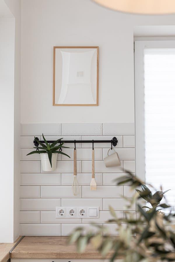 Free Mock Up Frame In Kitchen Interior Background. Scandinavian Home Design. Stock Image - 221420481