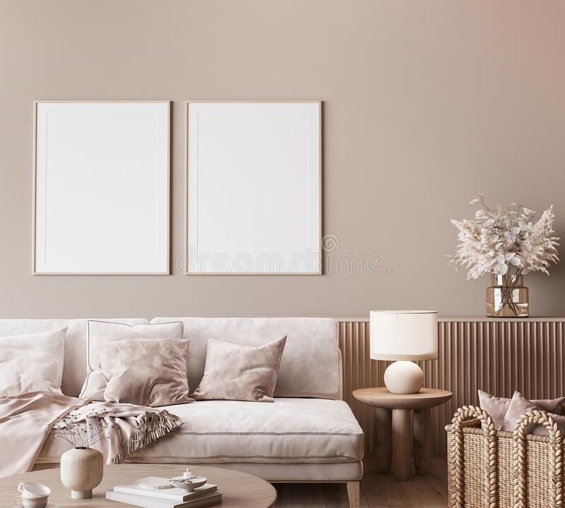 Free Mock Up Frame In Modern Interior Background, Neutral Wooden Living Room With Dried Plant And Home Decor Stock Image - 212218911