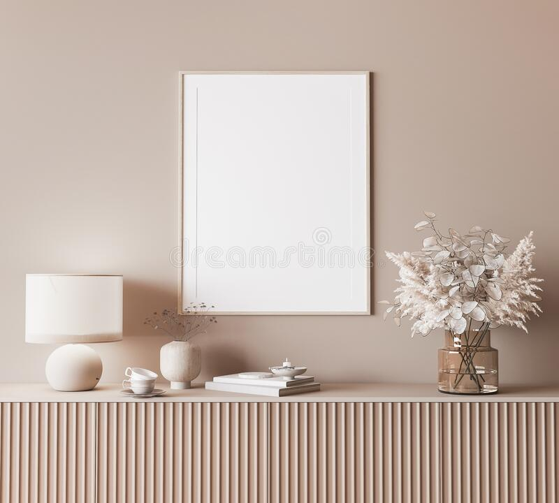 Free Mock Up Frame In Modern Interior Background, Neutral Wooden Living Room With Dried Plant And Home Decor Stock Image - 212218931
