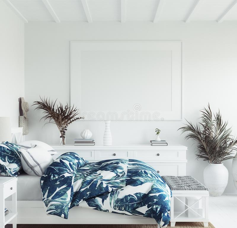 Free Mock Up Frame In White Cozy Tropical Bedroom Interior, Coastal Style Royalty Free Stock Photography - 161053977
