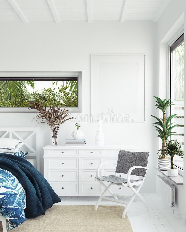 Free Mock Up Frame In White Cozy Tropical Bedroom Interior, Coastal Style Stock Photography - 161054092