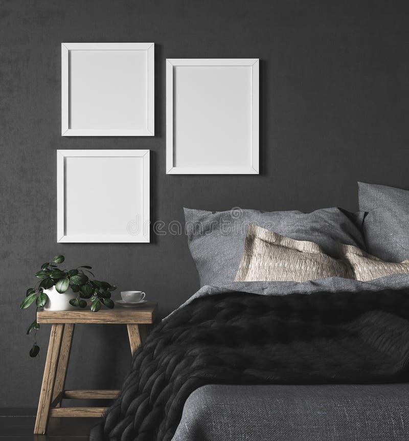Mock-up frames in dark ethnic bedroom interior royalty free illustration
