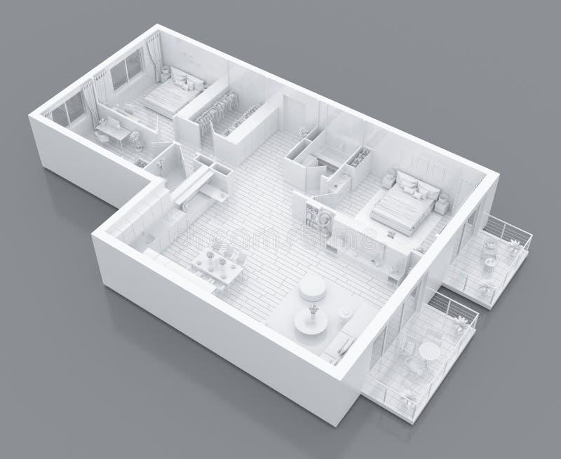Mock up of furnished home apartment, paper model vector illustration