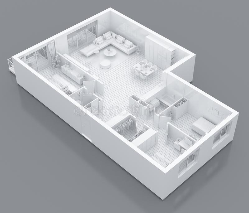 Mock up of furnished home apartment, paper model. 3d model of empty home apartment. 3d illustration vector illustration