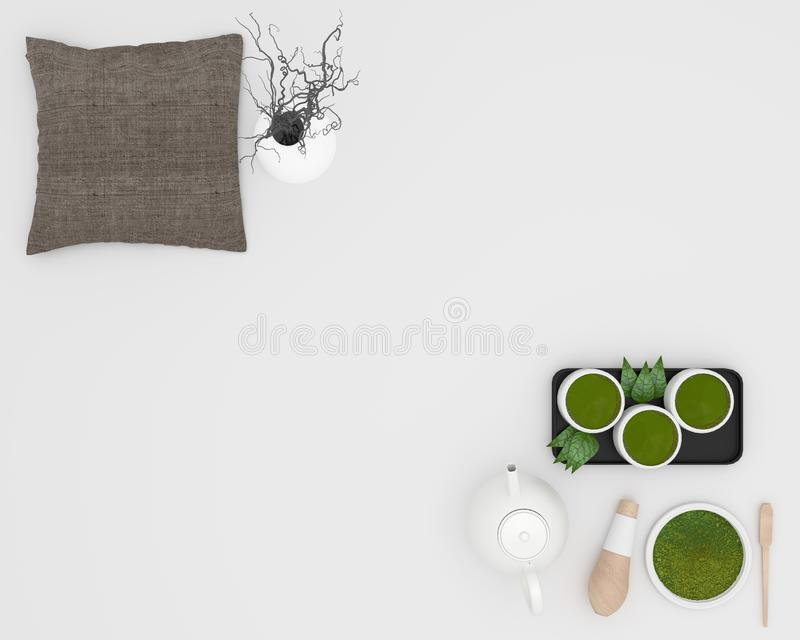 Green matcha tea, bamboo whisk, spoon and tea powder in white background. 3D rendering. Mock up Green matcha tea, bamboo whisk, spoon and tea powder in white vector illustration