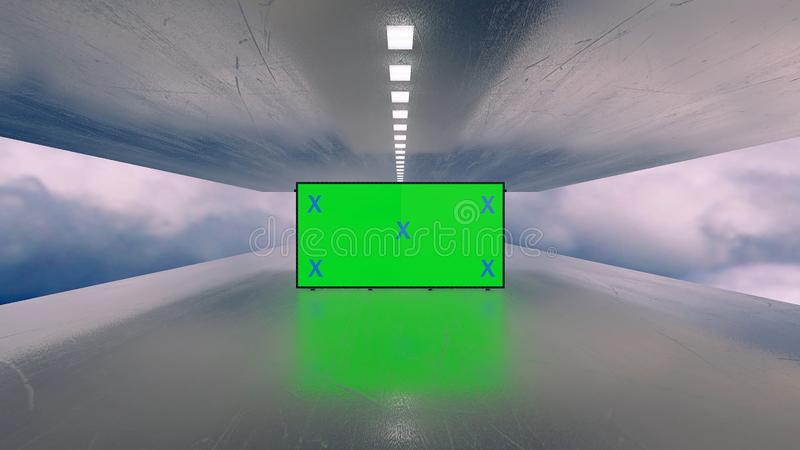 Mock up of green screen billboard futuristic plane tunnel between clouds. Space, technology concept for promotion, advertisement. Blank stand for marketing royalty free stock photos