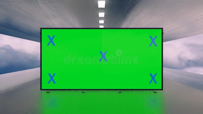 Mock up of green screen billboard futuristic plane tunnel between clouds. Space, technology concept for promotion, advertisement. Blank stand for marketing stock image