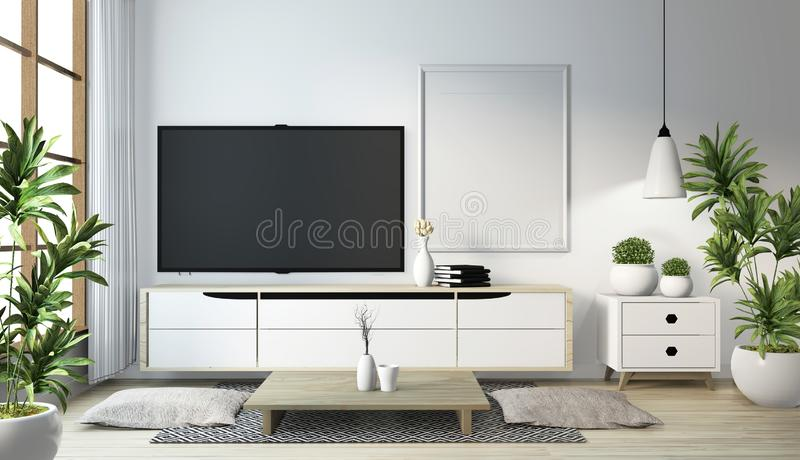 Idea of mock up cabinet wooden on modern zen room japanese style.3D rendering royalty free illustration