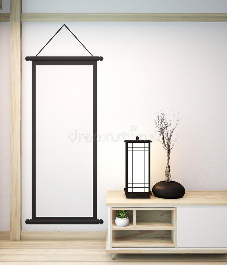 Idea of mock up poster frame and cabinet zen style on room modern japanese style.3D rendering stock illustration