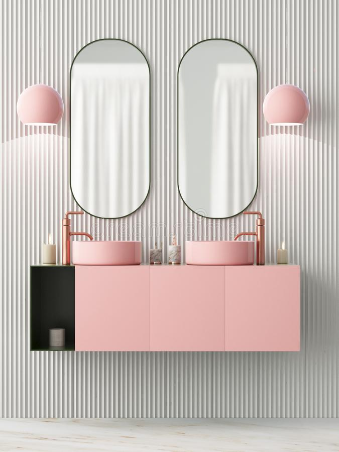 The Interior Of The Bathroom Is In Art Deco Style 3d Illustration Stock Illustration Illustration Of Canvas Closet 115477288