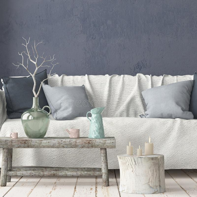 Mock up interior in Scandinavian style with a sofa. 3D rendering royalty free illustration