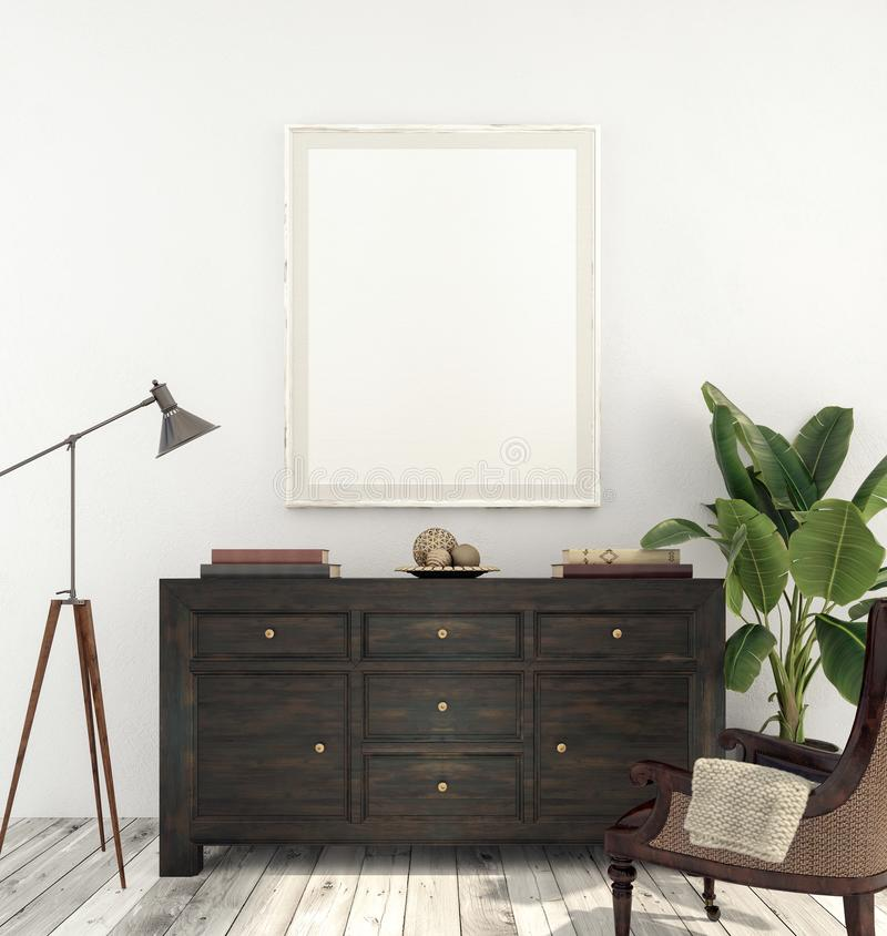 Mock up interior with white picture frame and dark wood console vector illustration