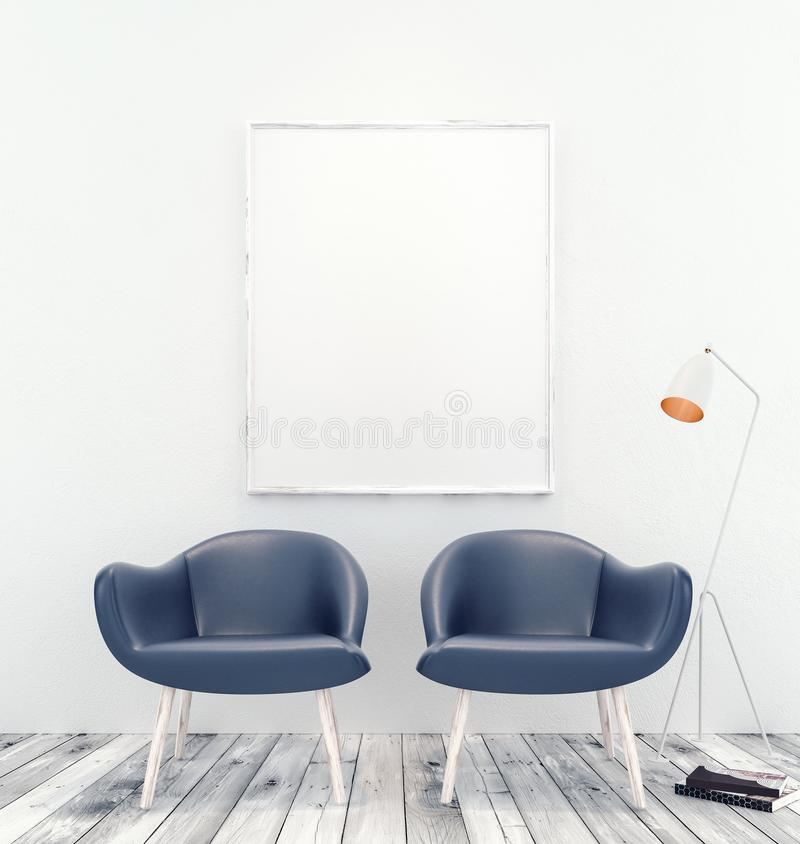 Mock up interior with white picture frame and two blue armchairs stock illustration
