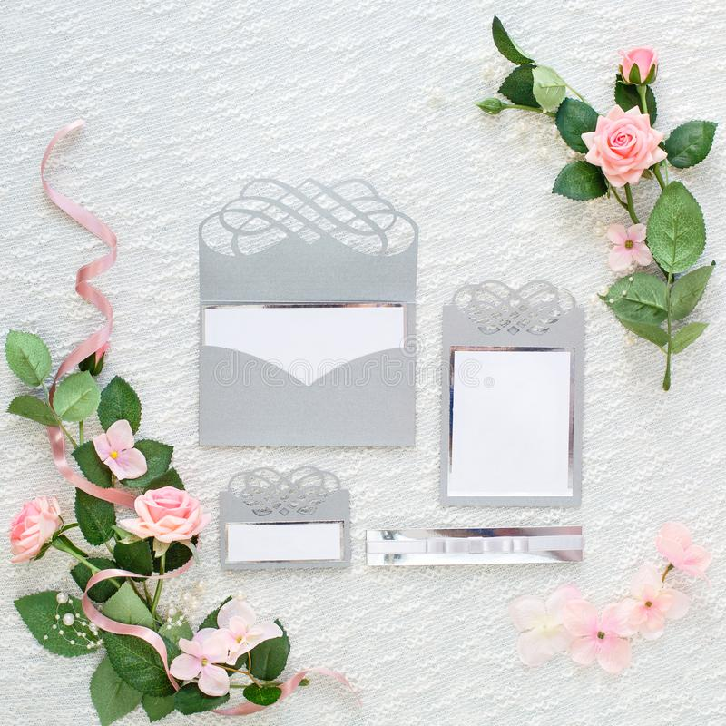 Mock up of invitation to wedding. Handmade greeting card. stock images