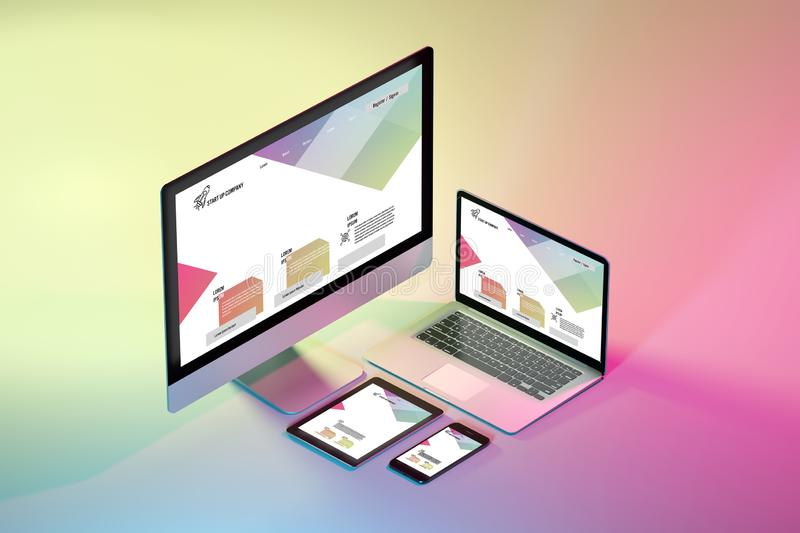 Mock up of isometric devices on a colorfull background - 3d rendering. Mock up view of isometric devices on a colorfull background - 3d rendering stock illustration