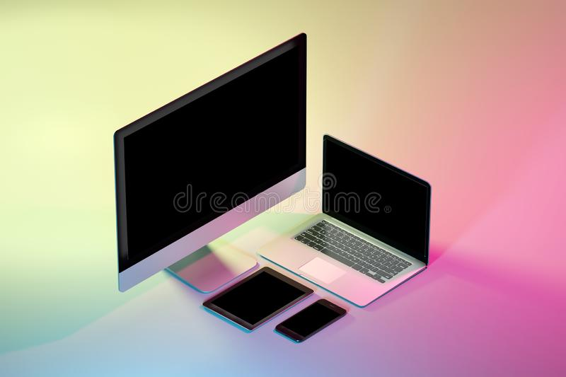 Mock up of isometric devices on a colorfull background - 3d rendering. Mock up view of isometric devices on a colorfull background - 3d rendering royalty free illustration