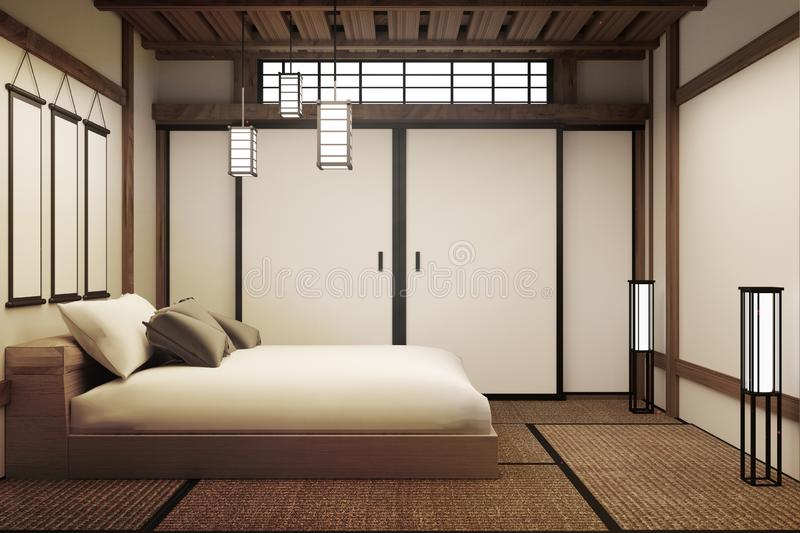 Japanese bedroom. 3D render vector illustration