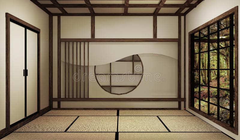 Mock up, Japanese empty room tatami mat Designing the most beautiful. 3D rendering. Japanese empty room tatami mat Designing the most beautiful. 3D rendering royalty free illustration
