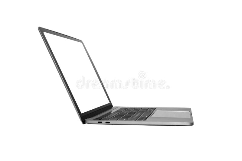 Mock up laptop devices isolated white background. personal computer notebook with empty screen. white,blank copy space for use stock photo
