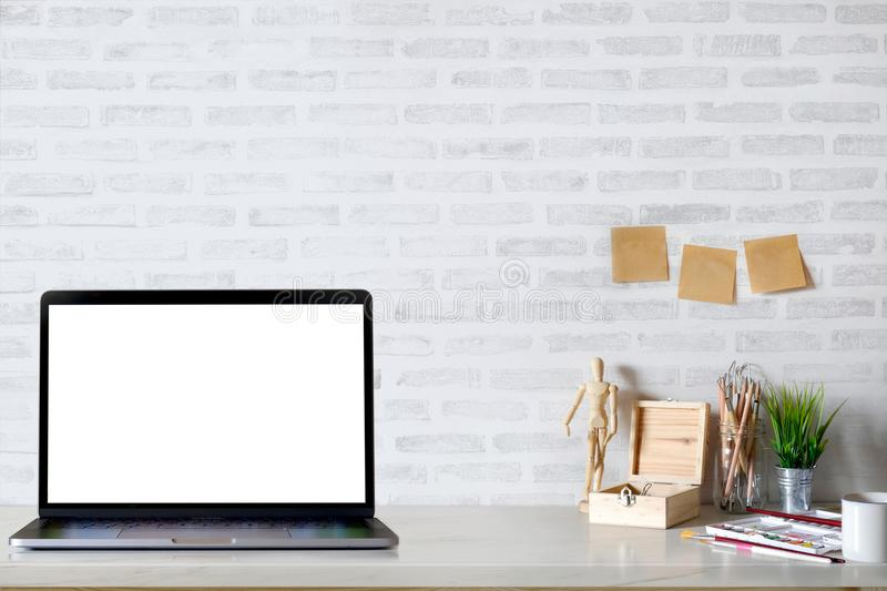 Contemporary workspace with laptop computer stock photography
