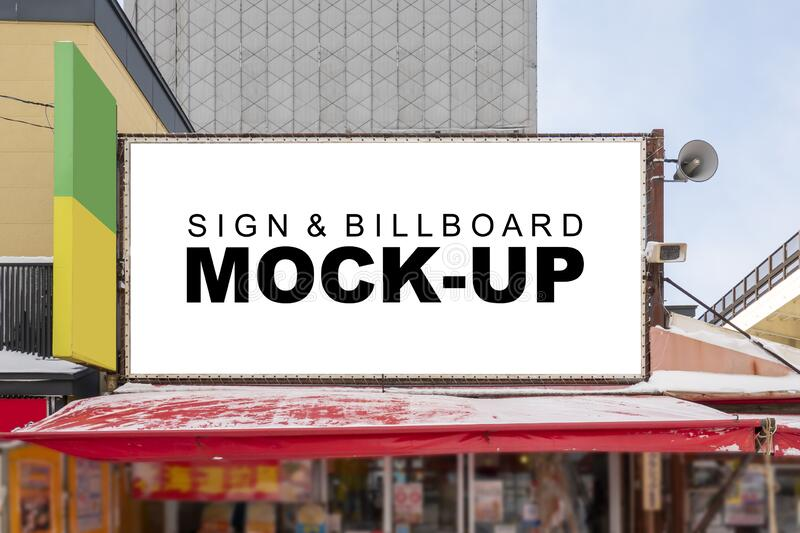 Mock Up Large Outdoor Billboard On The Roofing Of Building Stock Photo Image Of Announcement Airport 184300616