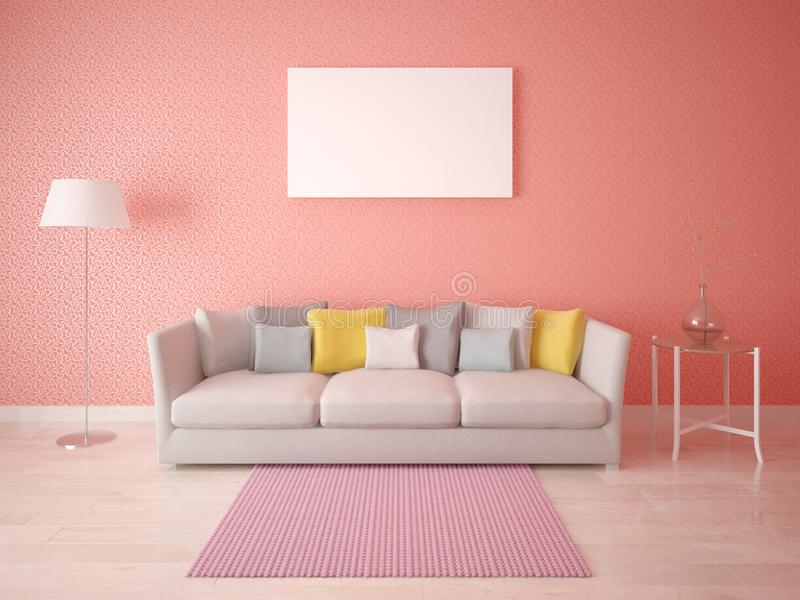Mock Up The Living Room In Scandinavian Style. Stock Illustration ...