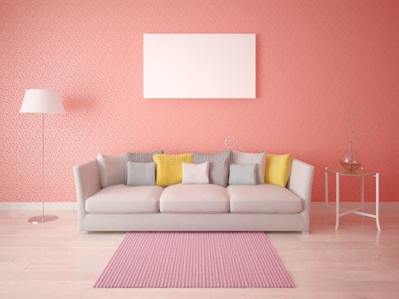 Mock Up The Living Room In Scandinavian Style. Stock Illustration ...