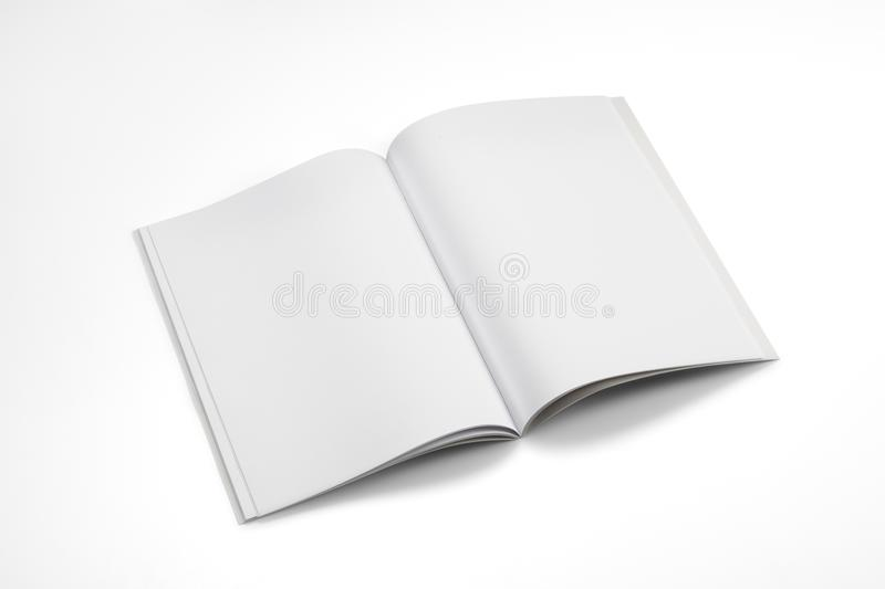 Mock-up magazines, book or catalog on white table background. royalty free stock images