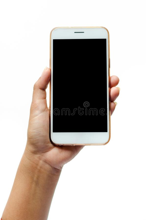Mock up of a man holding device and touching screen. Clipping path White background Touch screen mobile phone, in hand royalty free stock images