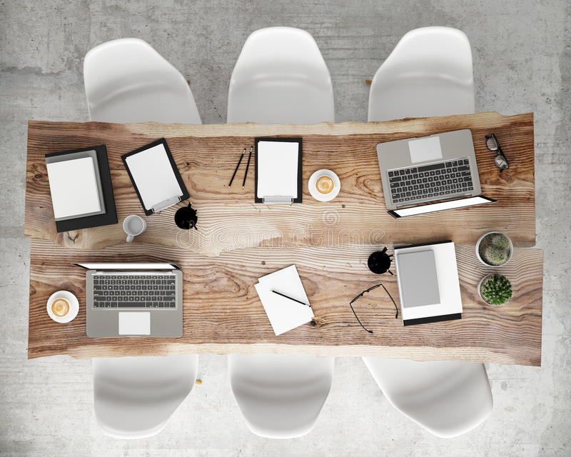 Download Mock Up Meeting Conference Table With Office Accessories And  Laptop Computers, Hipster Interior Background