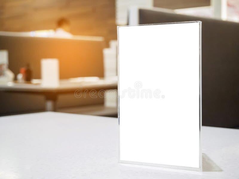 Mock Up Menu Frame On Table In The Cafe Restaurant Stock Image ...